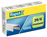 24861300 - Esselte Leitz / Rapid 26/6mm Standard Staples - Pack of 1000 Galvanised Staples