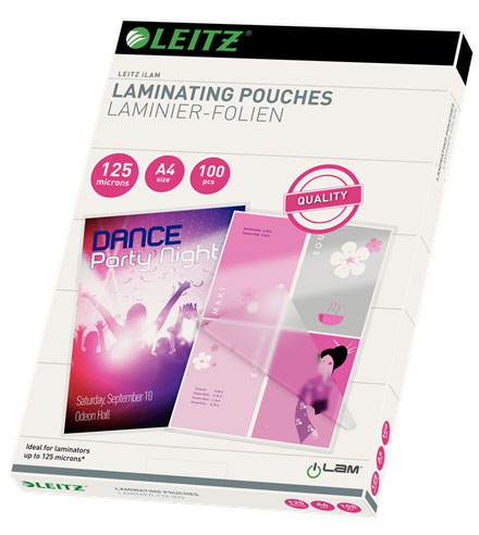 33808 - Leitz A4 Laminating Pouches, Pack of 100 - 125 micron