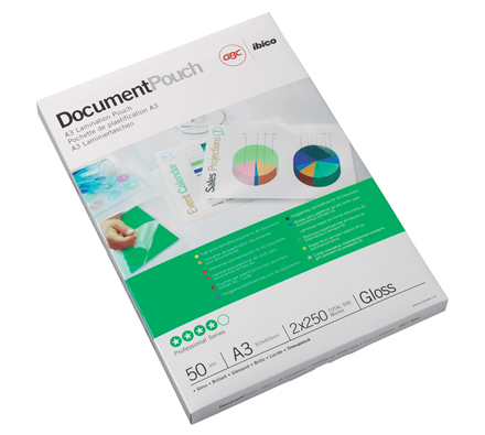 3740450 - GBC A3 Document Laminating Pouches 2 x 250 micron (500 micron) Pack of 50