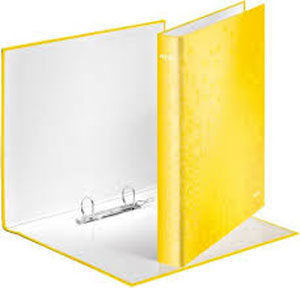 4241-00-16 - Leitz WOW Laminated Yellow 2 Ring Binder - Box of 10
