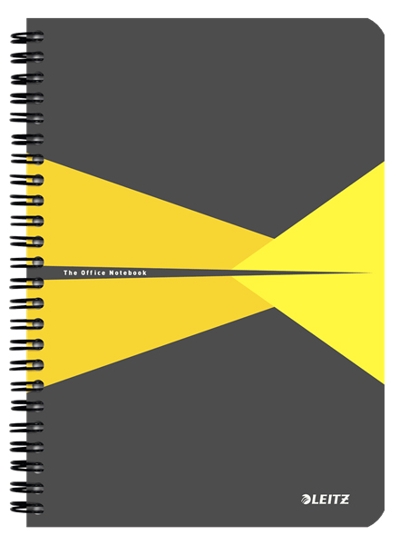 44590015 - Leitz Office Notebook A5 ruled, wirebound with cardboard cover, Pack of 5 Yellow Note Books