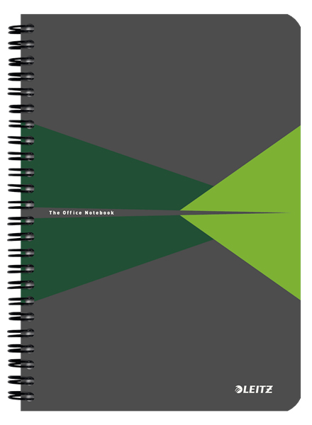 44590055 - Leitz Office Notebook A5 ruled, wirebound with cardboard cover, Pack of 5 Green Note Books
