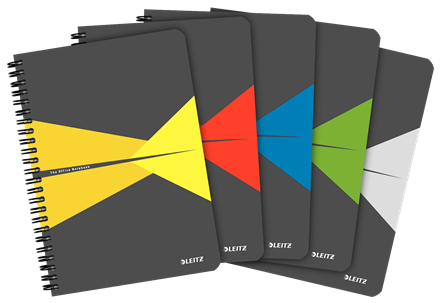 44590099 - Leitz Office Notebook A5 ruled, wirebound with cardboard cover, Pack of 5 Assorted Colour Note Books