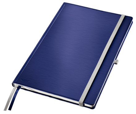 44750069 - Leitz Style Blue Notebook A4 ruled with hardcover, the elegant notebook for professionals