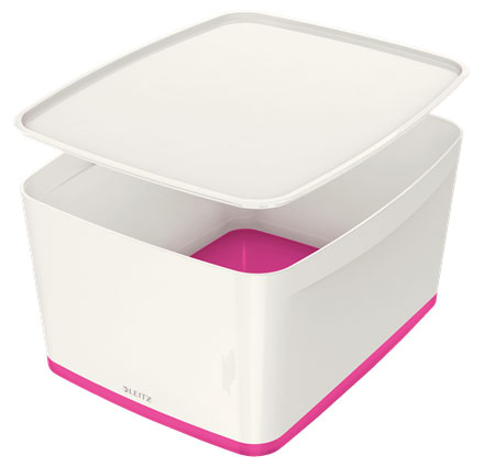 52161023 - MyBox - 18 Litre Large Storage Box with Lid - White & Pink, 318 x 198 x 385mm
