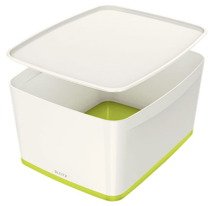 52161064 - MyBox - 18 Litre Large Storage Box with Lid - White & Green, 318 x 198 x 385mm