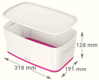 52291023 - MyBox® - Small Storage Box with Lid - White/Pink