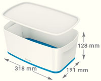 52291036 - MyBox® - Small Storage Box with Lid - White/Blue
