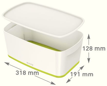 52291064 - MyBox® - Small Storage Box with Lid - White/Green