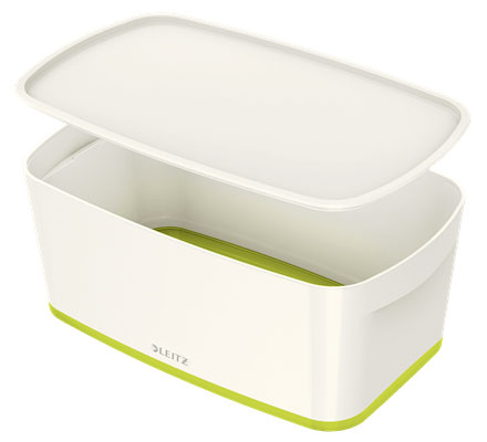 52291064 - MyBox - 5 Litre Small Storage Box with Lid - White & Green, 318 x 128 x 191mm * Free Delivery *