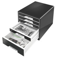 52530095 - Leitz Black WOW - 5 Drawer Desktop Cube Cabinet/Organiser