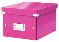 6043-00-23 - Pack of 6 - ACCO Leitz Click & Store A5 Storage Boxes - Metallic Pink - Small Size
