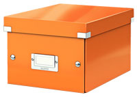 6043-00-44 - Pack of 6 - ACCO Leitz Click & Store A5 Storage Boxes - Metallic Orange - Small Size