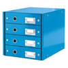 6049-00-36 - Esselte Leitz Metallic Blue Click & Store 4 Drawer Unit