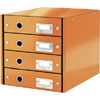 6049-00-44 - Esselte Leitz Metallic Orange Click & Store 4 Drawer Unit