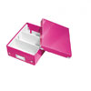 6057-00-23 - Pack of 6 - ACCO Leitz Click & Store A5 Organiser Boxes - Metallic Pink - Small Size