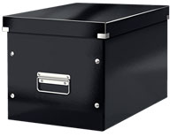 61080095 - ACCO Leitz Box Click & Store Cube Large, Black Storage Box