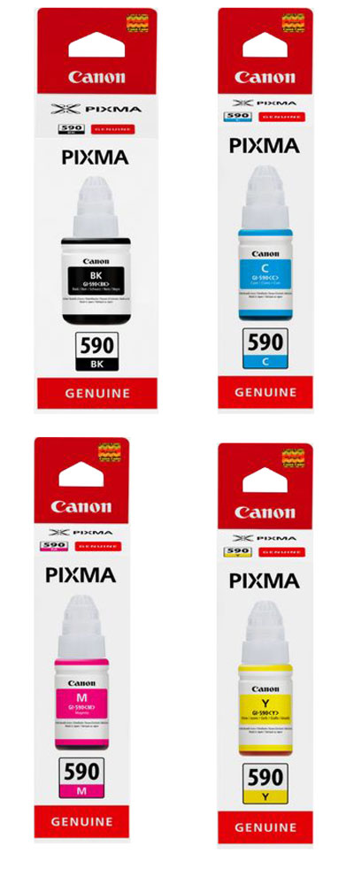 GI590SET - Genuine Canon GI-590 Bottled Ink Set for PIXMA G-series printers, Black, Yellow, Magenta, Cyan