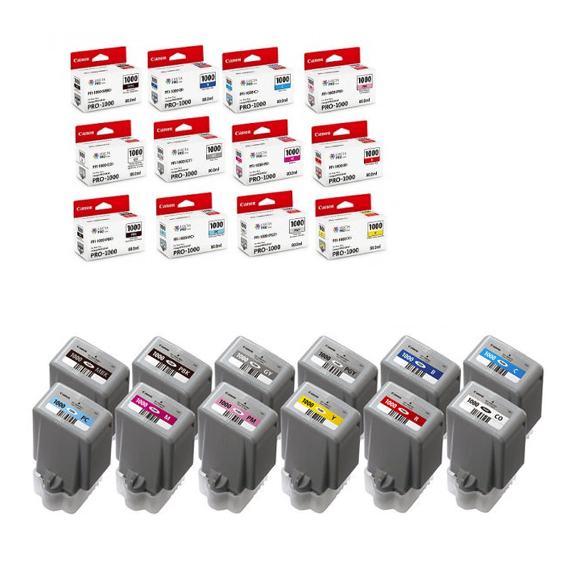 PFI1000SET - Full Set of All 12 Genuine Canon PFI-1000 Ink Tanks for imagePROGRAF PRO-1000