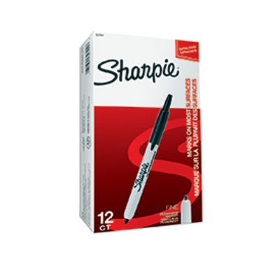 S0810840 - Sharpie RT Retractable Fine Permanent Marker Black x 12