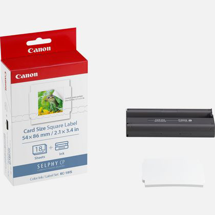 7429B001 - Canon KC-18IS Ink/Paper Set Credit Card Size - 18 Square Stickers